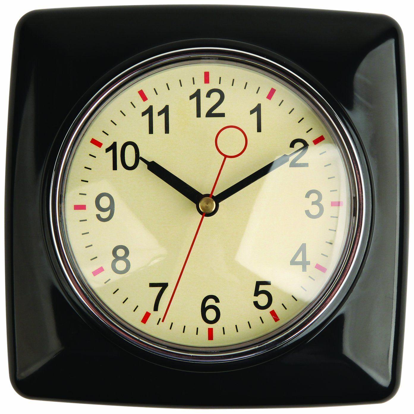 Amazon.com - Kikkerland Retro Kitchen Wall Clock, Black - Wall Clock ...