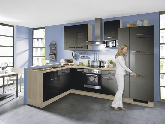 Winkelküche IP 2800 Quarzgrau/Akazie •• Aktuelle Einbauküche, die ... | {Küchenelemente 3}