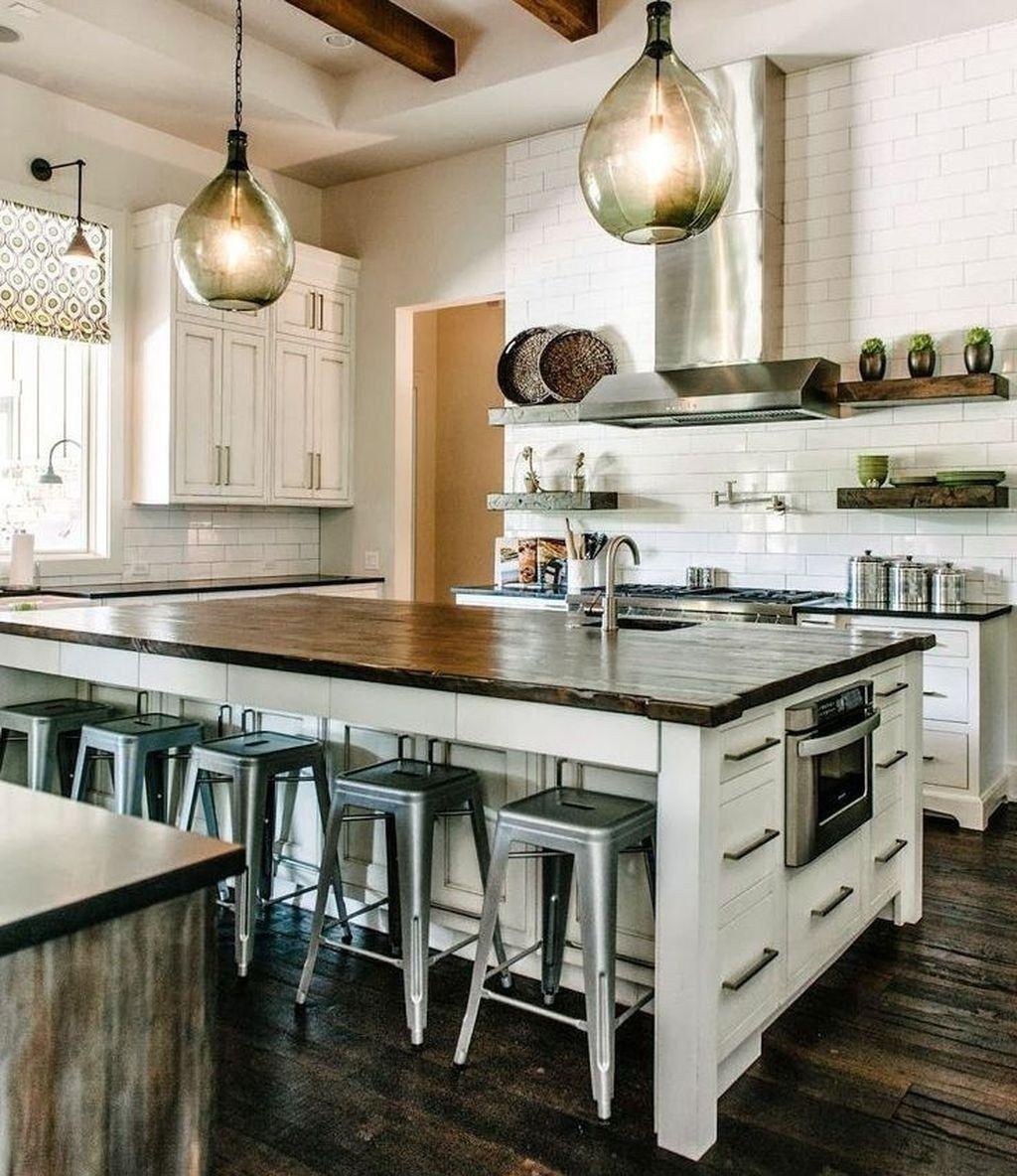 Chic Modern Farmhouse Kitchen Decor Ideas 8  Industrial style
