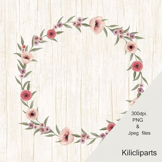 Wedding clipart, flowers  Wreaths, Floral Wreaths, digital and Watercolor, clipart, instant download.