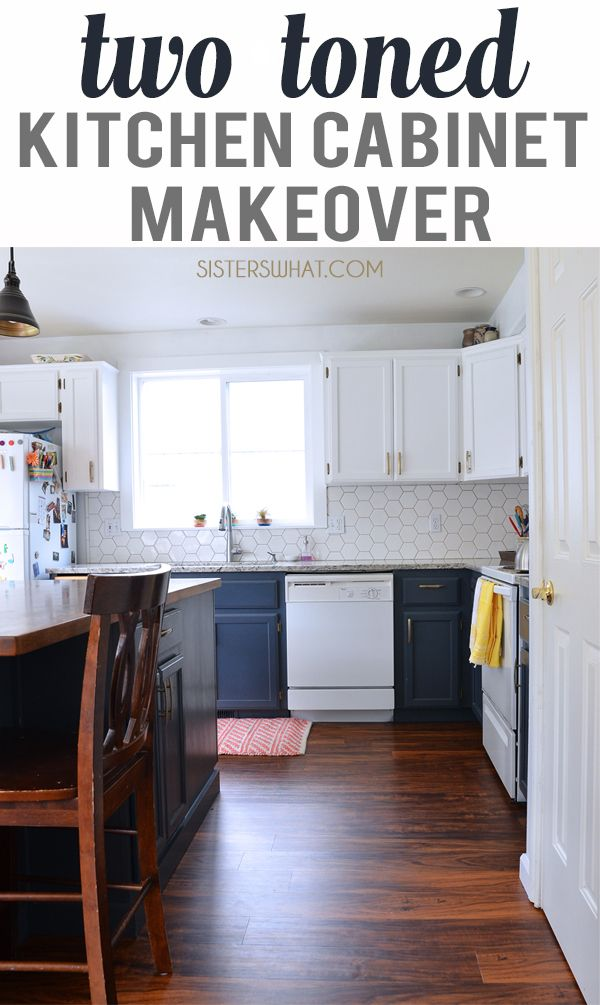 a two toned diy kitchen remodel with hexagon tiles  diy
