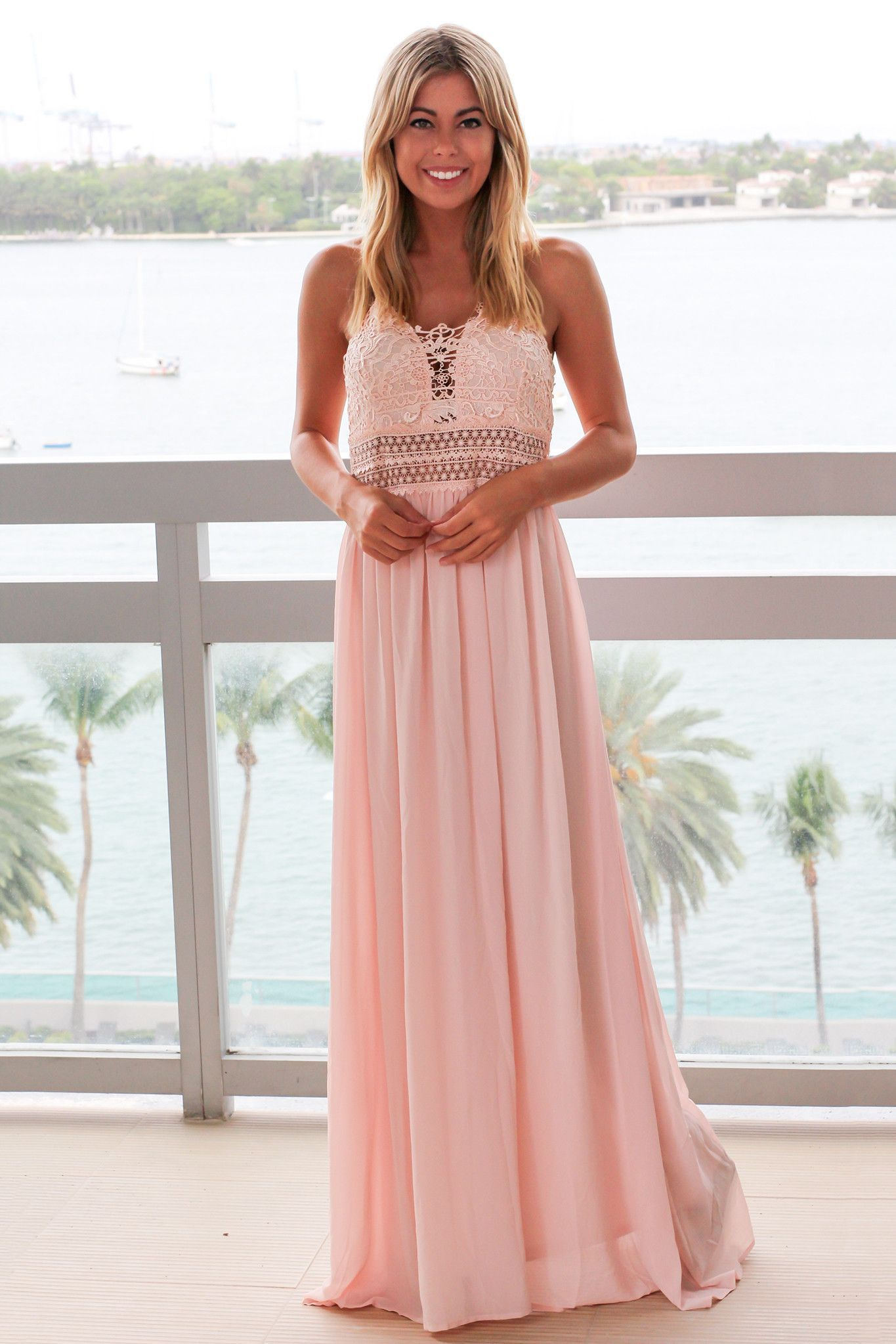 Dusty Pink Maxi Dress with Crochet Top