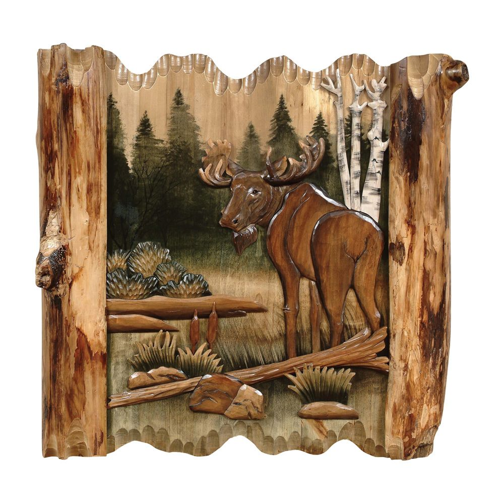moose forest carved wood wall art carved wood wall art on wall art id=96291