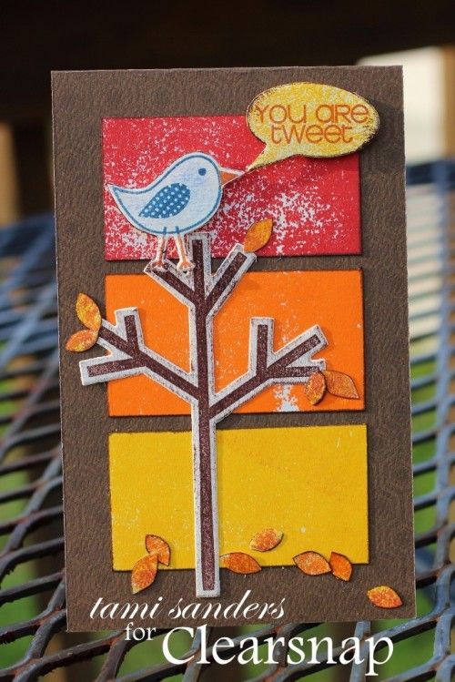tami sanders used ColorBox Premium Dye Inks by Stepahine Barnard to create this colors of fall friendship card. http://blog.clearsnap.com/2013/09/colors-fall-card/