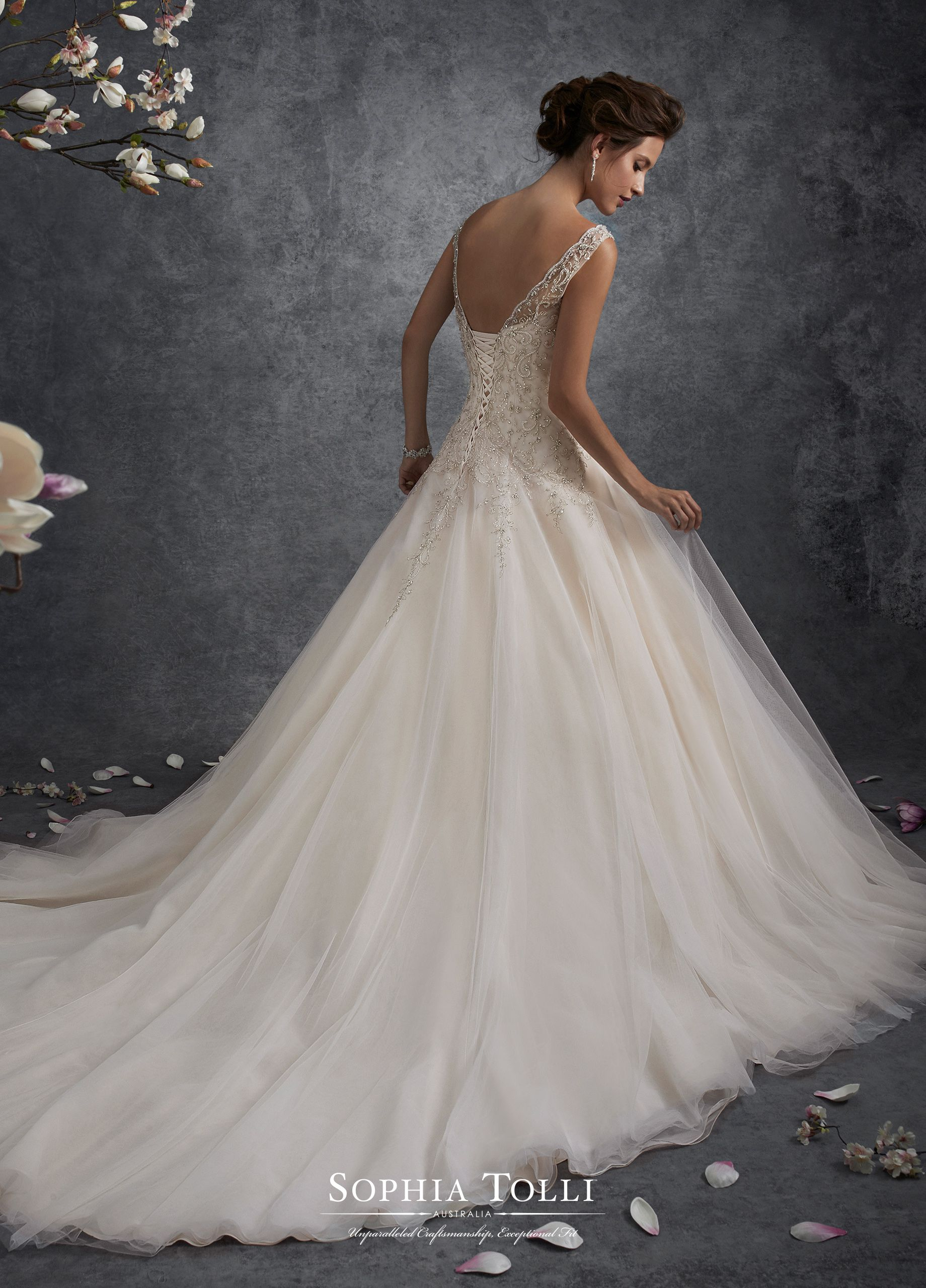 81c0a2f8c06 Y21748 Ursa - Misty tulle ball gown with hand-beaded illusion slight cap  sleeves and Sabrina neckline