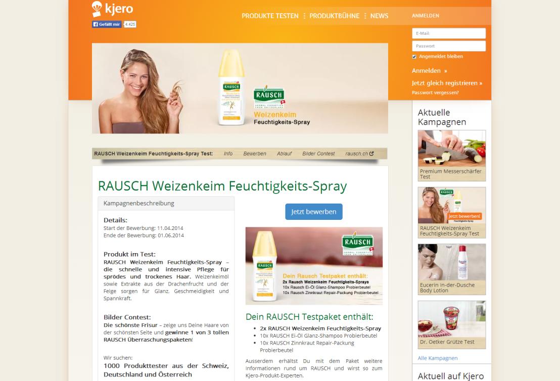 1.000 Produkttester für RAUSCH Weizenkeim Feuchtigkeits-Spray gesucht! Noch bis zum 1. Juni 2014 könnt ihr euch bei Kjero als Produkttester für RAUSCH...