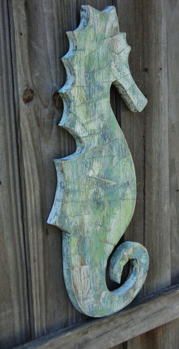 Wooden Mosaic Sea Horse Distressed Mosaics by TheSavvyShopper1