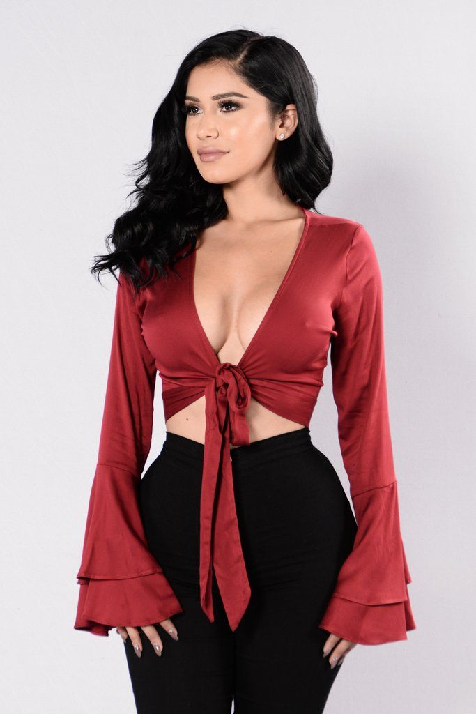 Available in Burgundy - Satin Crop Top - Bell Sleeves - Tie Front - V  Neckline - Made in USA - 97% Rayon 3% Spandex 4f28be1a1