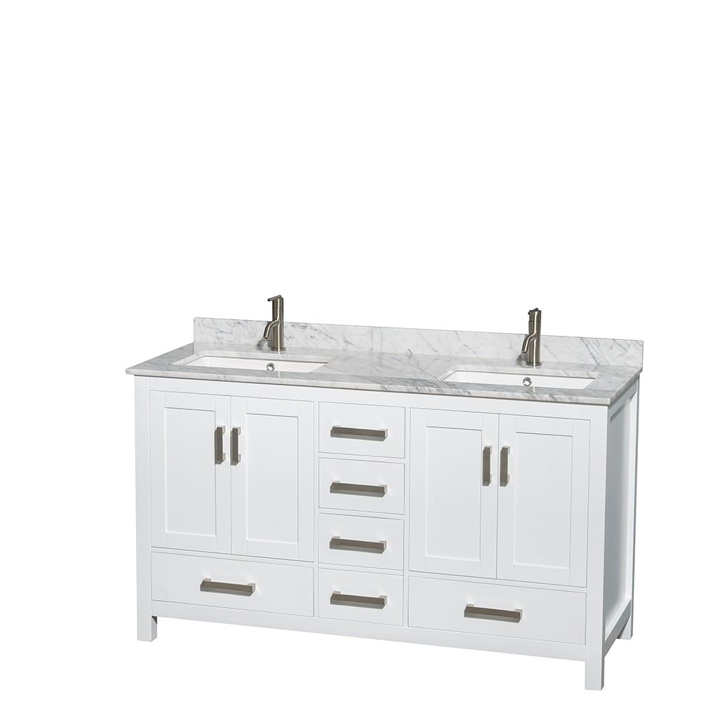 Wyndham Collection Sheffield White 60-inch Double Bathroom Vanity ...