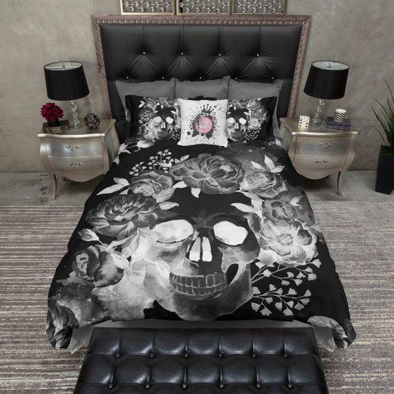 Bon Lightweight Black Night Skull Bedding, Skull Duvet Cover, Sugar Skull Bed  Linen, Sugar