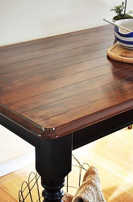 Love this DIY table revamp with instructions on painting score lines to resemble wood planks. Very cool!