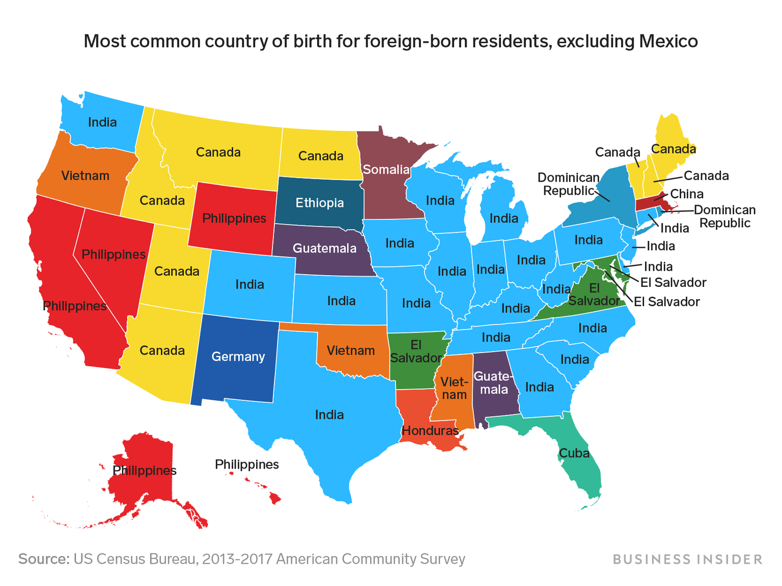 This Map Shows Where Each States Largest Immigrant Group Comes From - Map-of-immigrants-in-the-us