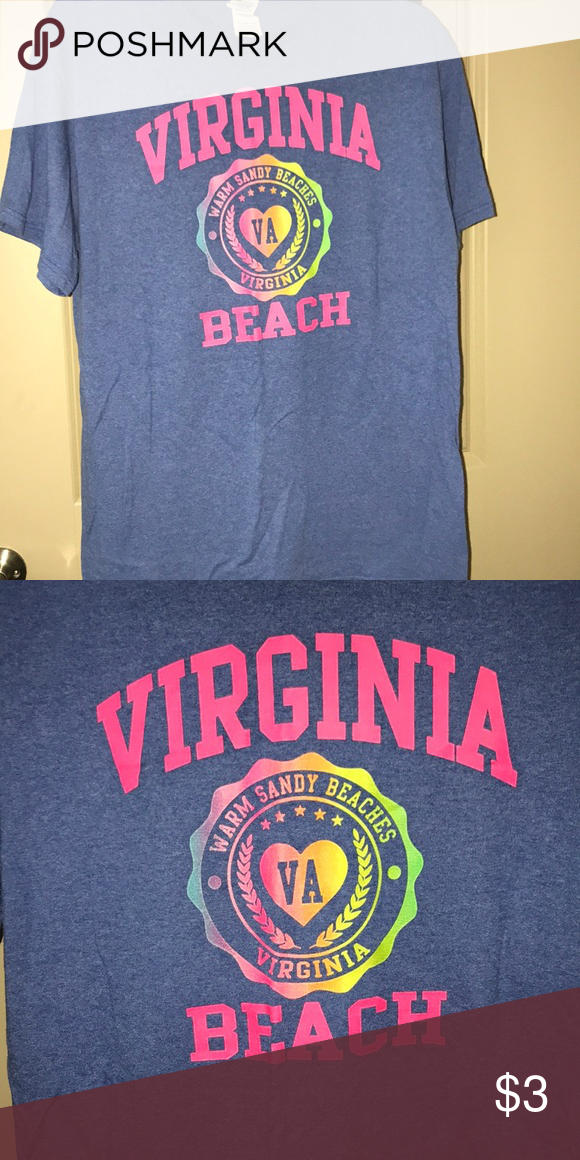 Virginia Beach T Shirt Large 50 Preshrunk Cotton Polyester Some Piling Under The Arms Tops Tees Short Sleeve
