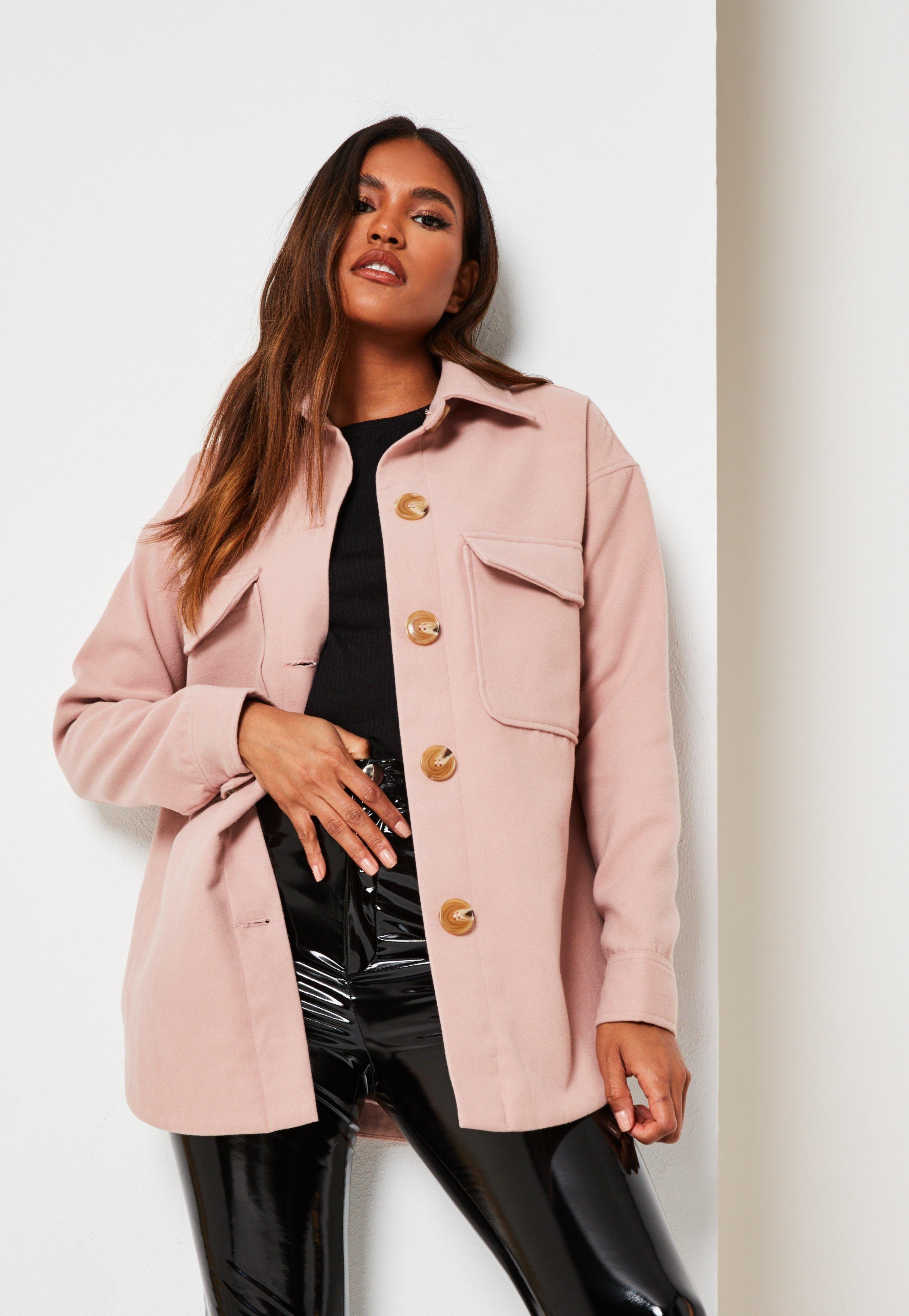 Pink Plain Brushed Shacket Sponsored Plain Ad Pink Shacket Shacket Outfit Shacket Outfit Women Coats Jackets [ 4200 x 2900 Pixel ]