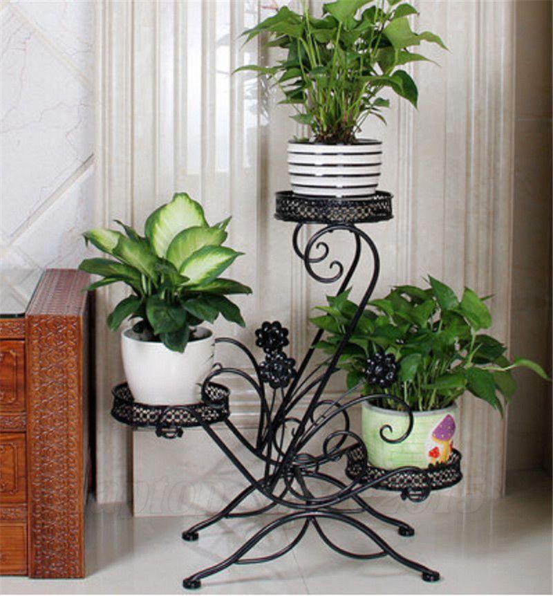 3 Tier Black Wrought Iron Floor Standing Pot Plant Stand Balcony