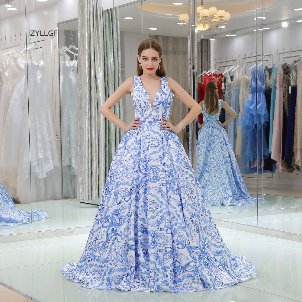 Click to buy ucuc zyllgf evening dresses china ball gown v neck sweep