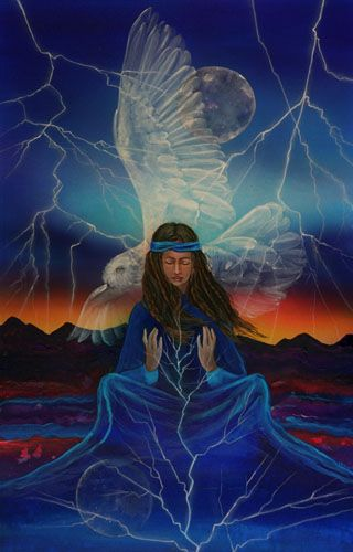Lightening/Owl Meditation is about meditation that can bring a flash of enlightenment (the lightening), that comes from deep in soul (the moon). The owl is a scared medicine bird bringing wisdom and awareness. The owl can see what others cannot it, he represents magic, omens and protects one from deception.