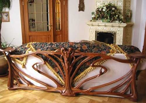 Art Nouveau Interior Carved Wood Living Room Sofa Frame