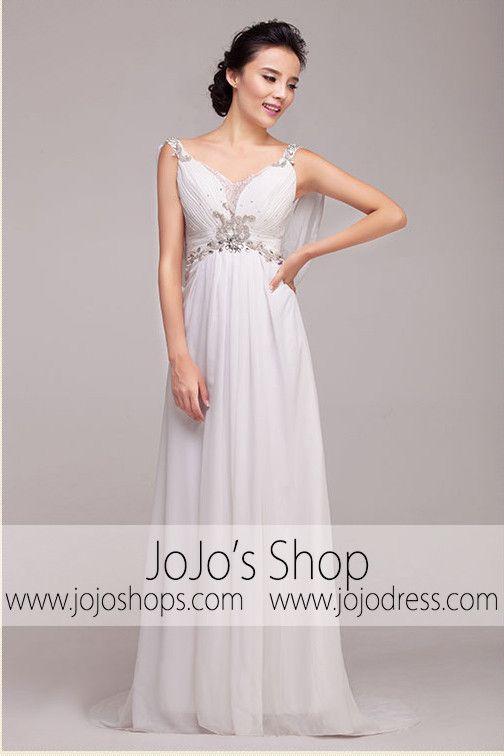 c5979953c398 2 V Neck Wedding Dress, White Wedding Dresses, Grecian Wedding, Grecian  Goddess,