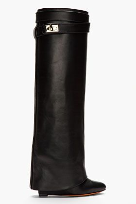 IN MY DREAMS! Givenchy Black Leather Shark Lock Wedge Boots for ... f0687dbc0