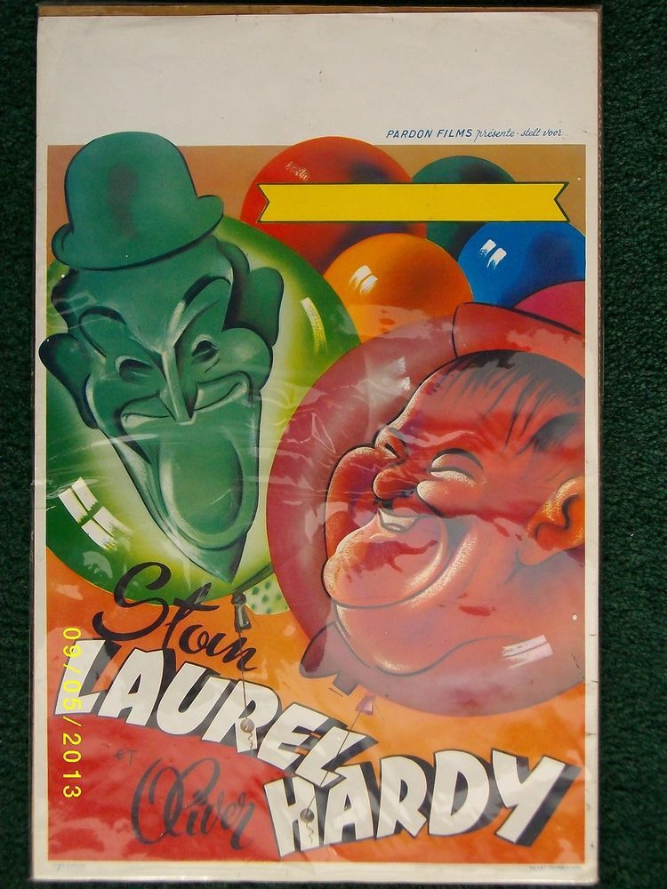 Classic Vintage Belgian Movie Poster of Laurel and Hardy , '60, Unfolded