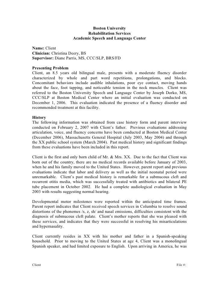 Boston University Rehabilitation Services Academic Speech and - sample evaluation report