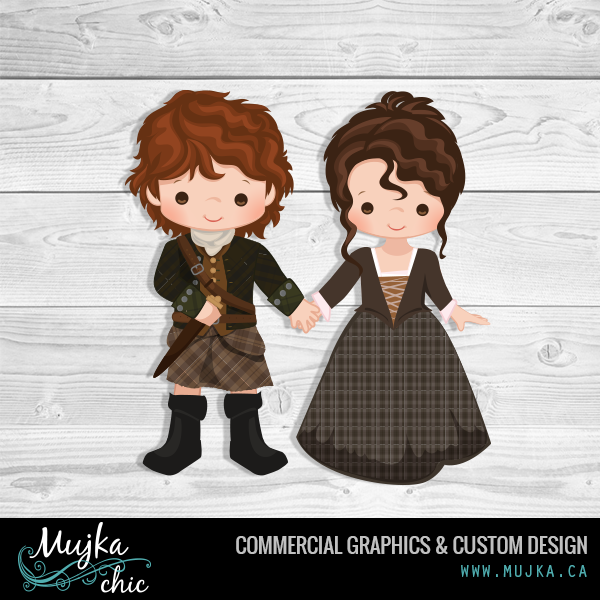 Outlander Custom Clipart. Jamie and Claire holding hands ;)) in ...