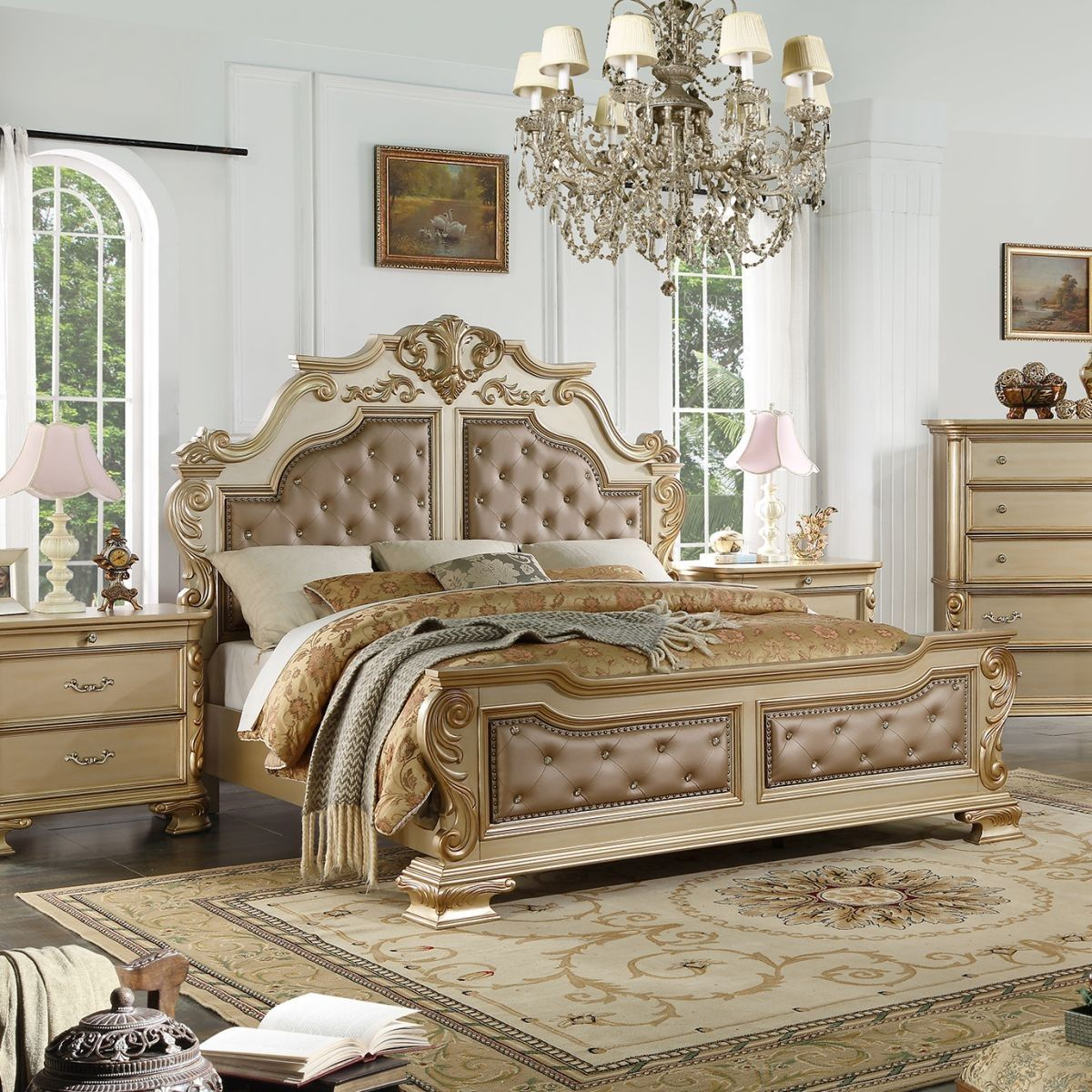 Badcock More Miranda Gold 5 Pc King Bedroom Bedroom Set