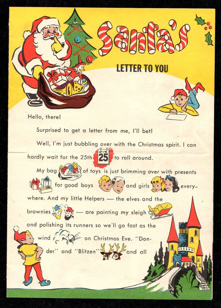 Vintage  Christmas Letter From Santa Claus  To Johnny  Card