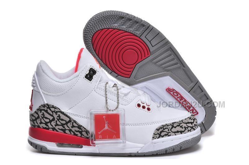Nike Air Jordan 3 Kids White Red, Price: $59.00 - New Air Jordan Shoes 2016.  Jordans For SaleCheap ...