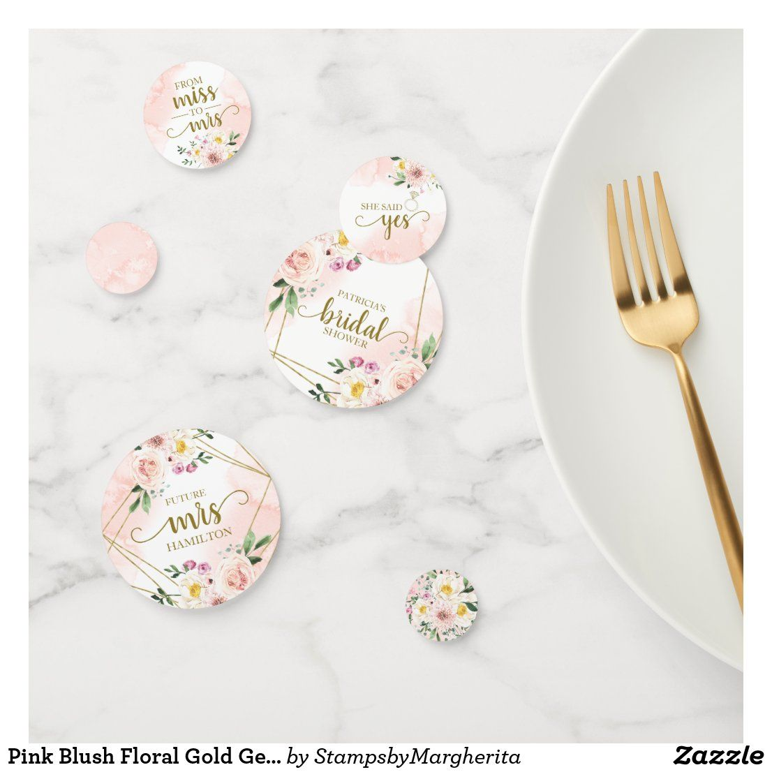 Pink Blush Floral Gold Geometric Bridal Shower Con