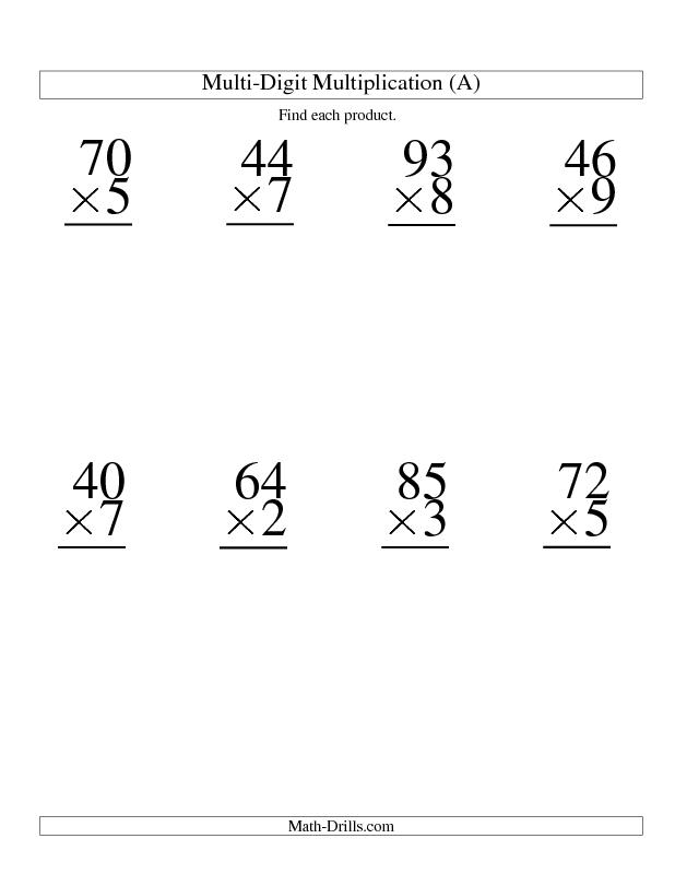 Multiplication Worksheet -- Multiplying Two-Digit by One-Digit -- 8 ...
