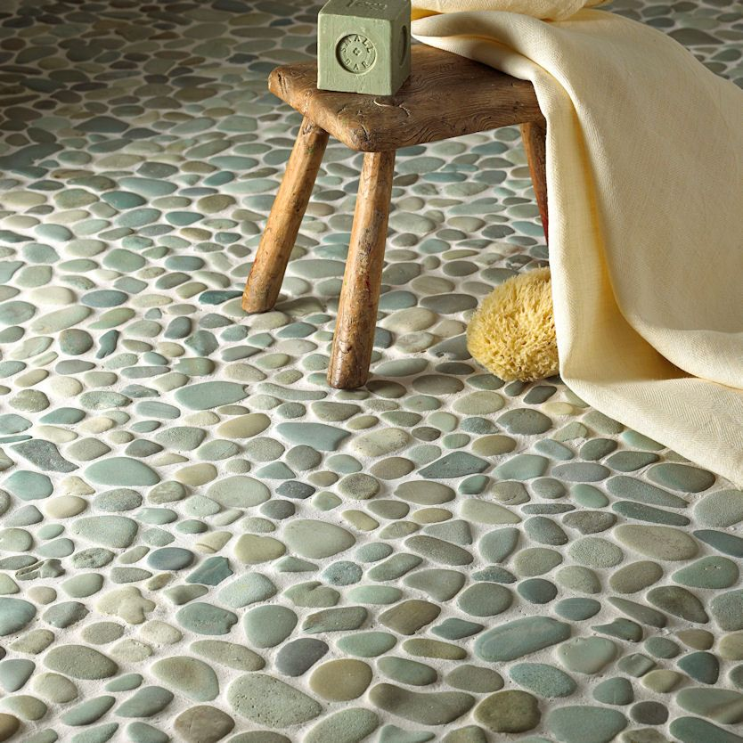 Exotic Green Pebble Floor Using Hand Made Interlocking Mosaic Pebble Tiles  From Bali