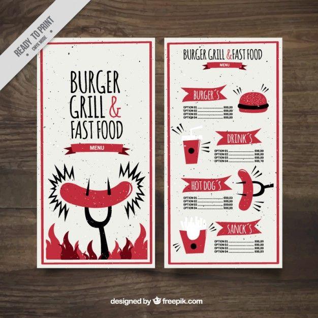 Funny burguer bar menu template Free Vector clipart Pinterest