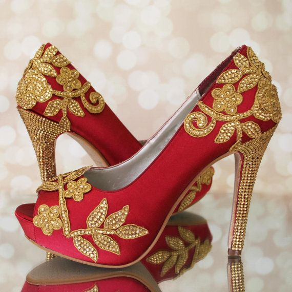 aa41a437de5 Custom Wedding Shoes  Claret red platform peeptoes featuring a hand  decorated gold lace flower applique and a gold crystal covered heel by Ellie  Wren Custom ...