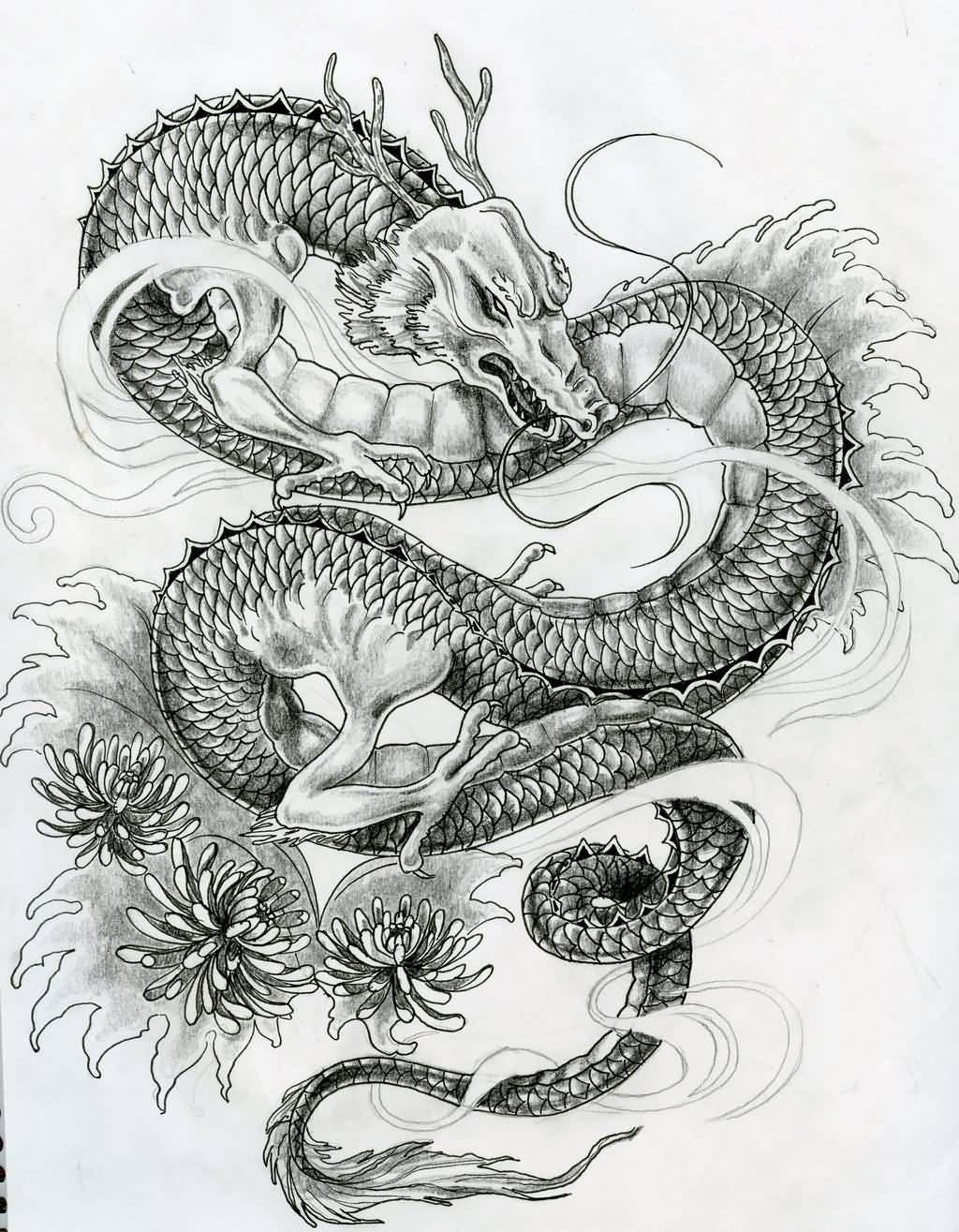 Japanese Dragon Tattoo Design On Back Asian dragon