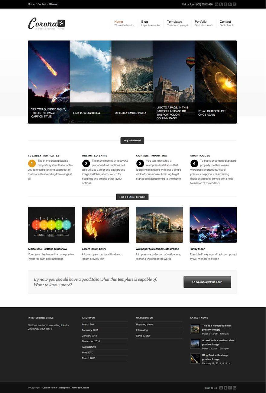 Corona WordPress Theme  http://creattica.com/css/corona-wordpress-theme/68552