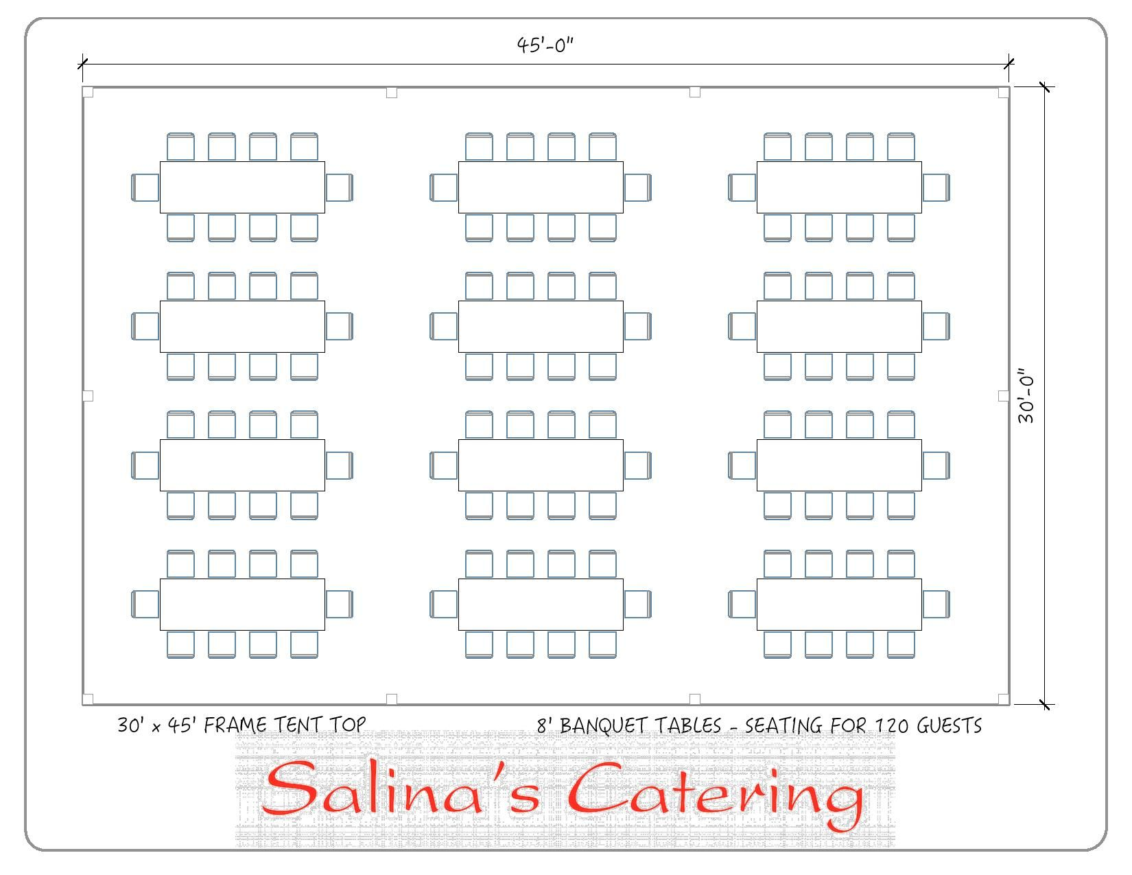 30X45 tents are capable of seating 120 guests and fitting 12 of our 8 foot long