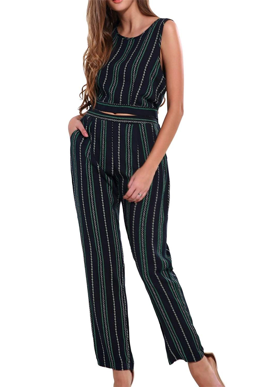 bc18e8851915 CHIC DIARY Women 2 Piece Set Square Crop Top Bodycon Casual Long Pants