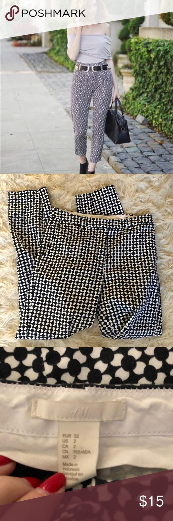 H M Black And White Geometric Print Pants Geometric Print Pants Clothes Design Geometric Print
