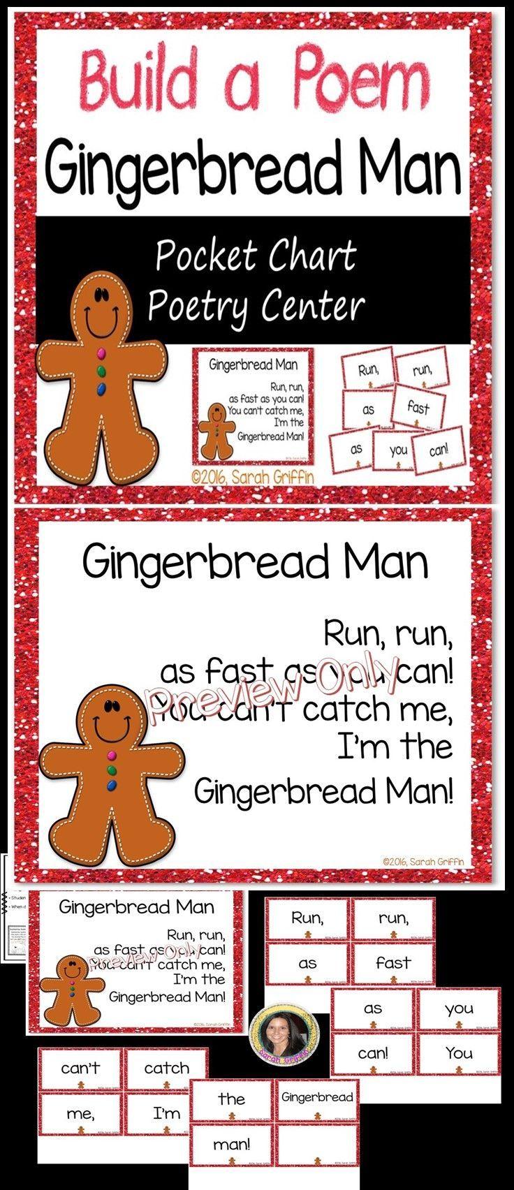 Build A Poem Gingerbread Man Pocket Chart Center Pocket Chart Gingerbread Man Kindergarten Themes [ 1704 x 736 Pixel ]