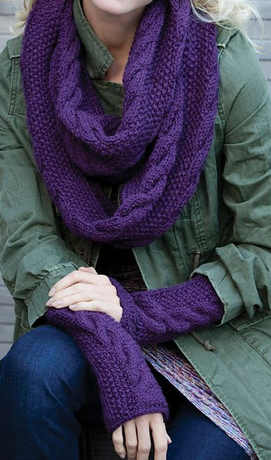 Free Knitting Pattern For Infinity Trinity Cowl And Mitts Set