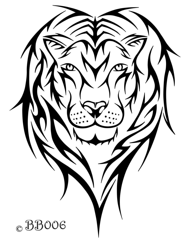 Tribal Lion Head By Blackbutterfly006 On Deviantart Lion Head Tattoos Tribal Lion Tribal Drawings