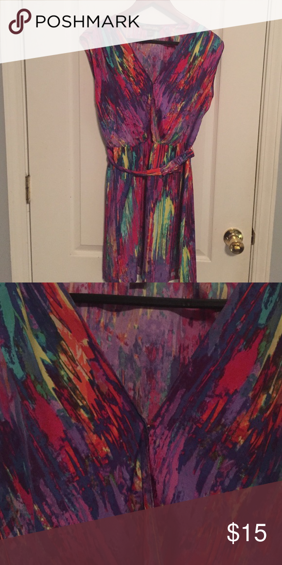 ROYGBIV Colorful Dress with Belt Dresses Midi