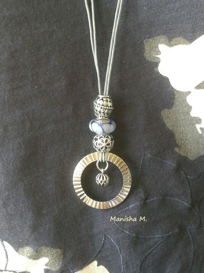 PANDORA Necklace made with Grey Coloured Fabric String (Lariat), Imagine Watch Bezel and Assorted Charms.