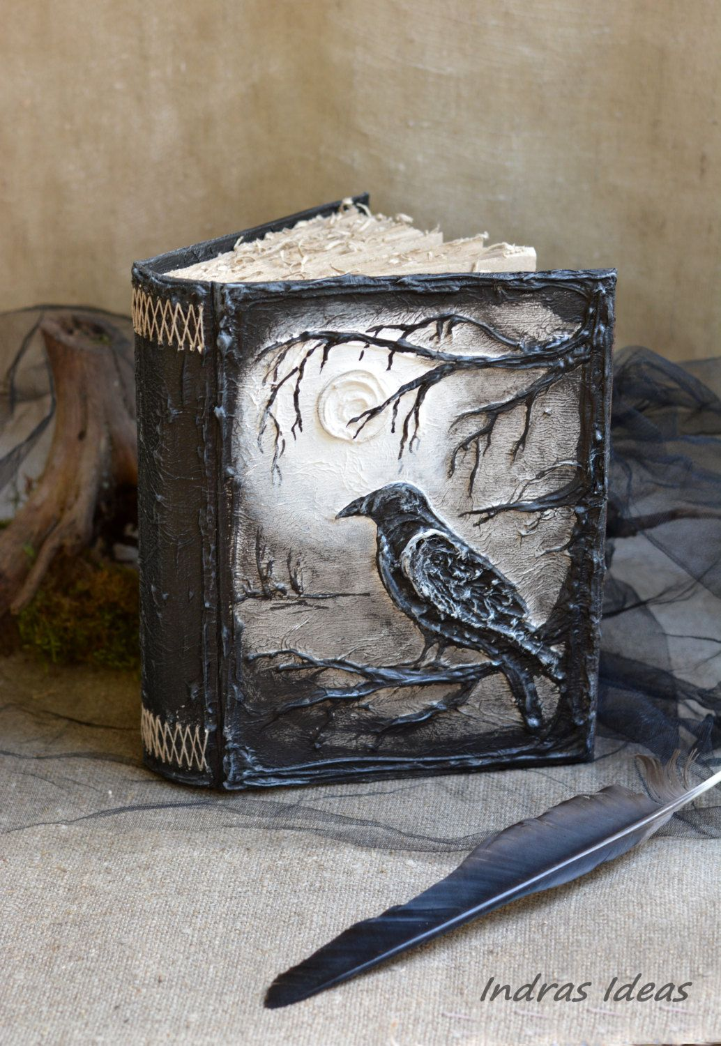 Black raven book Magic book Pagan Diary Book of Shadows