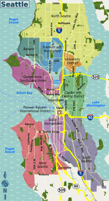 Seattleites Usually Describe Seattle Locations In Terms Of Neighborhoods This Is Partly Because Of Seattle Travel Seattle Travel Guide Seattle Neighborhoods