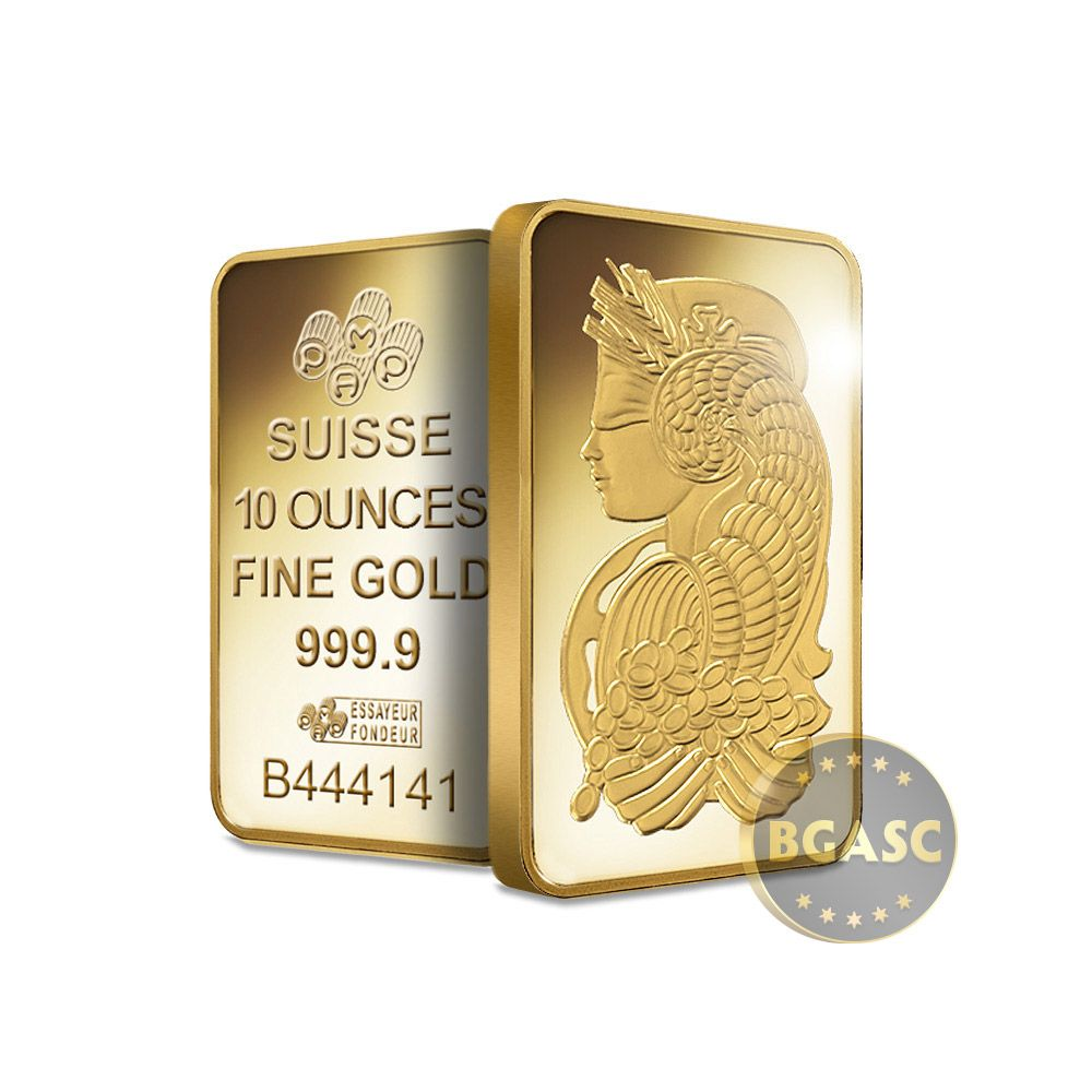 This Beautiful Gold Bar Has Had It 39 S Weight And Fineness Certified By Pamp Suisse The Pamp Suisse Fortuna 10 Troy Ounce Gold Bar Is 9999 Fine Gold And