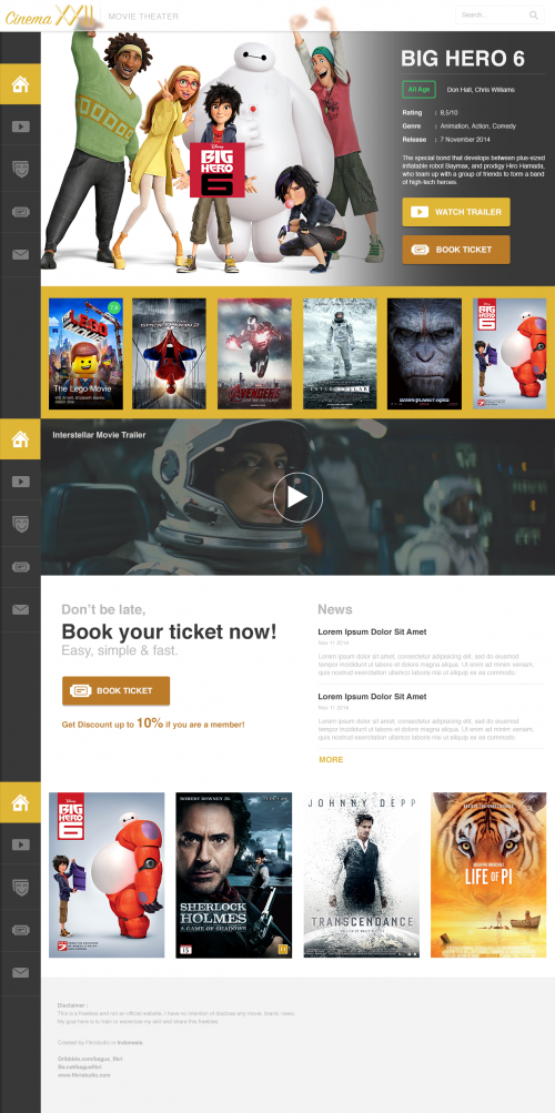 Movie Cinema Website PSD Template | UI | Pinterest | Psd templates ...