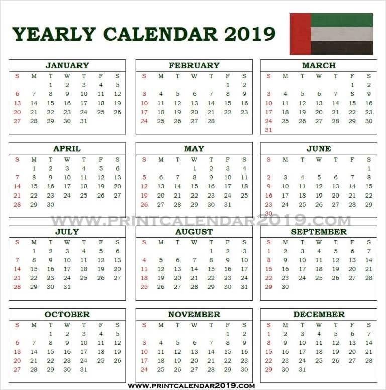 Uae Calendar 2019 With Holidays Calendar 2019 With Holidays